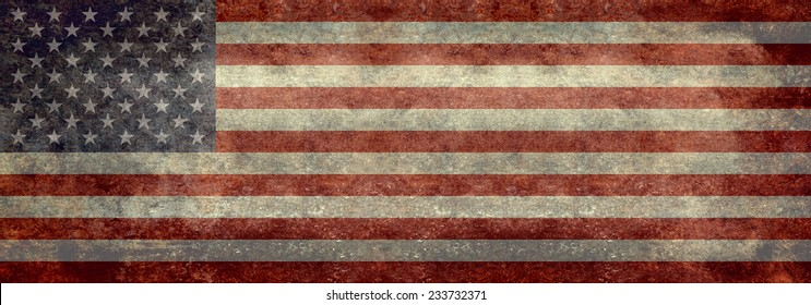 USA Flag Banner - Vintage distressed retro textured