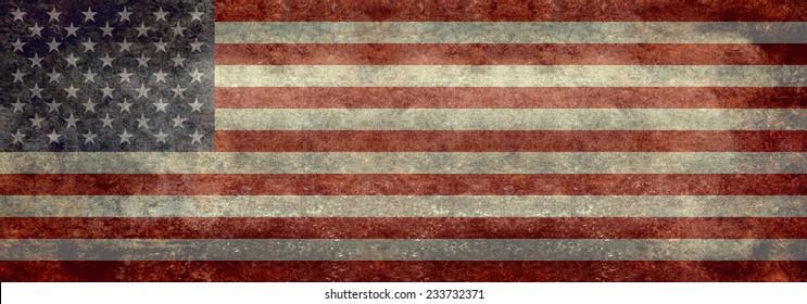 USA Flag Banner - Vintage distressed retro textured