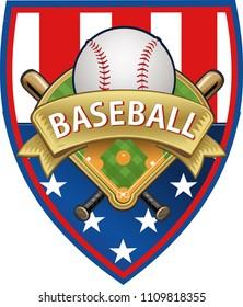 USA Flag and Baseball