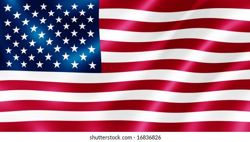 USA flag blowing in the wind illustration.