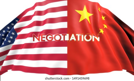 """USA flag and China flag with the Word """"NEGOTIATION"""" in the Center. Isolated on White Background. 3D Rendering."""
