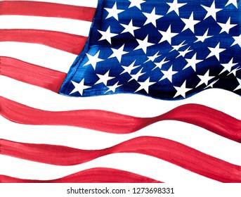 USA Flag Closeup Oil Painting