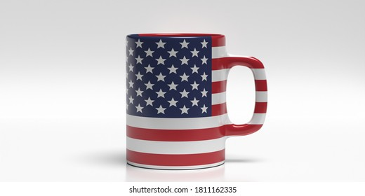 USA flag coffee mug isolated on white background. US of America travel souvenir, election, memorial independence day sign symbol. 3d illustration