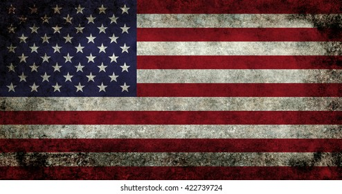 USA flag with dark gunge retro style distressed patina