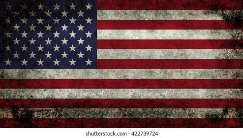 USA flag with dark gunge retro style distressed patina