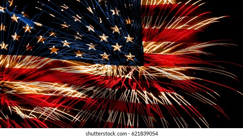 usa flag and fireworks