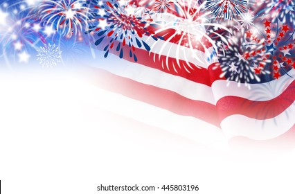USA flag with fireworks on white background