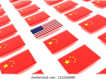 USA flag and flags of China.3d illustration