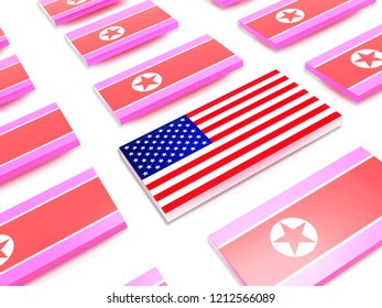 USA flag and flags of North Korea.3d illustration