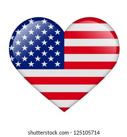 The USA flag in the form of a glossy heart