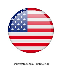 The USA flag in the form of a glossy icon.