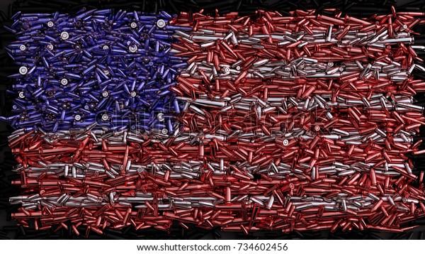 Bandera de EE.UU. formada por viñetas / ilustración 3d / representación 3d