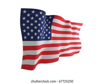 USA flag. Isolated on white background.