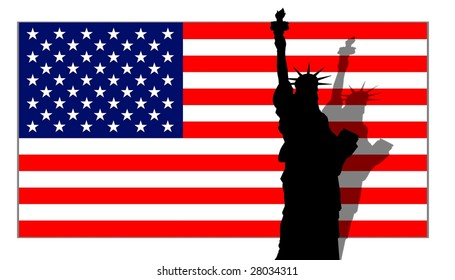 usa flag with lady liberty