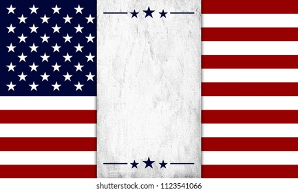 USA Flag With Old Paper Background