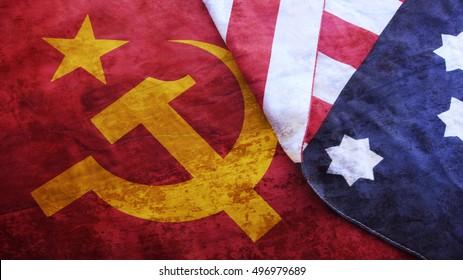 Usa Flag on Ussr Flag