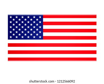 USA flag on a white background.3d illustration
