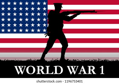 USA flag on a World War 1 banner. War scene with circa 1915 soldier uniform silhouettes. Original digital illustration.