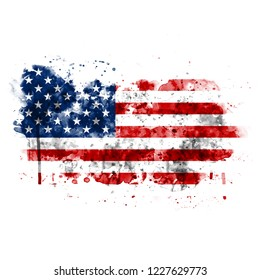 USA flag painted with watercolor, isolated on white background.