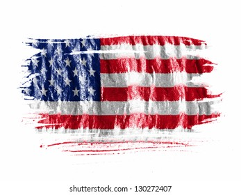The USA flag  painted with watercolor on wet white paper