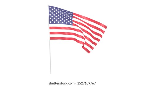 USA flag with pole on white background,texture,  Symbols of USA -3D illustration