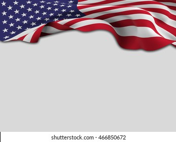 USA flag ,pushed by the wind  shows a white background-3D rendering