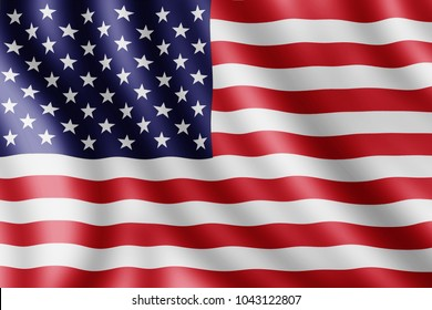 USA flag, Realistic illustration