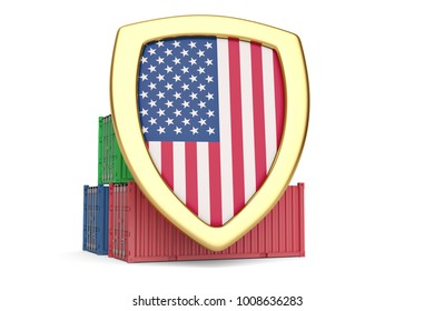 Usa flag shield and containers.3D illustration.