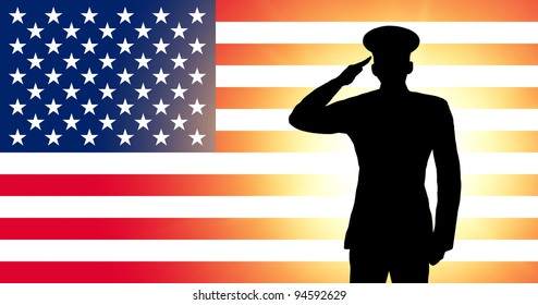 The USA flag and the silhouette of a soldier's military salute