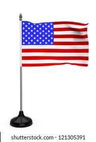 USA flag with stand on a white background