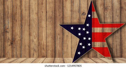 usa flag in star shape on wood, background with copy space, midterm election or veterans day background