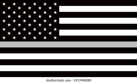 USA flag with a thin gray or silver - a sign to honor and respect american correctional officers, prison guards and jailers