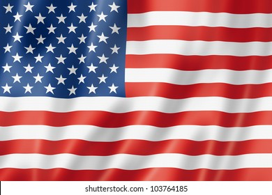 USA flag, three dimensional render, satin texture