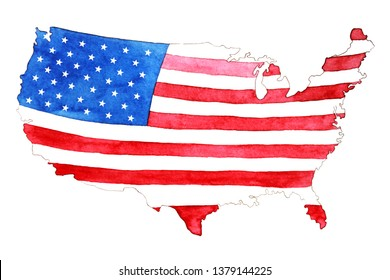 USA flag in watercolor. Map filled with flag. High resolution. Hand drawn