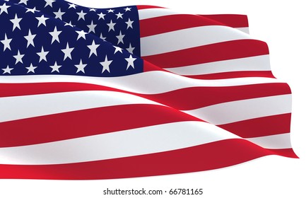 USA flag with waves 3D rendered isolated on white