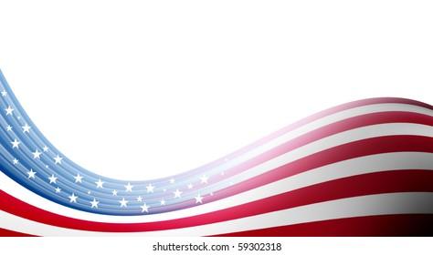 Usa flag waves on white background. Illustration