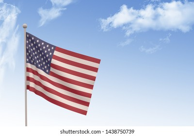 USA Flag Waving with blue sky, 3D illustration, Germany day concept,3d render,