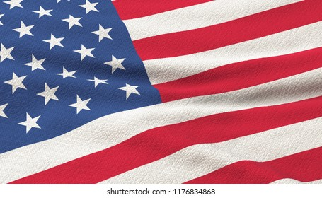 USA flag waving in the wind. 3d rendering