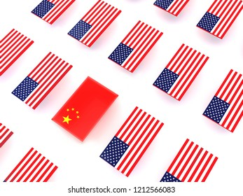 USA flags and flag of China.3d illustration
