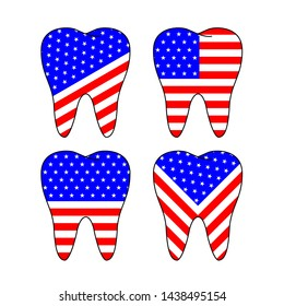 Usa flags pattern in tooth shape.  America indepence day, Happy 4th of July concept. Illustration isolated on white background.