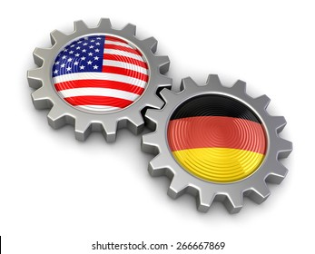 USA and German flags on a gears (clipping path included)
