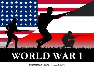 USA and German flags on a World War 1 banner. War scene with circa 1917 soldier uniform silhouettes. Original digital illustration.