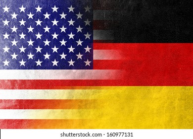 USA and Germany Flag painted on leather texture