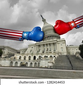 USA government fight and United States government disagreement and American federal shut down crisis due to political partisan fighting between the left and the right with 3D illustration elements.