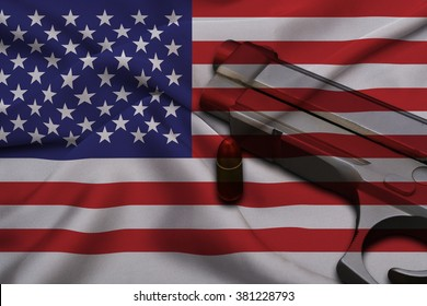 USA Gun Laws flag with pistol gun and bullet