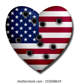 USA Heart with Bullet Holes
