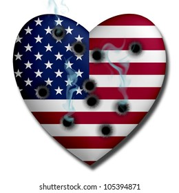 USA Heart with Bullet Holes and smoke isolated on white