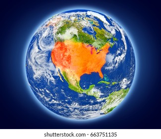USA highlighted in red on planet Earth. 3D illustration with detailed planet surface. Elements of this image furnished by NASA.