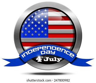 USA Independence Day - Metal Icon. Metal icon with US flag and blue ribbon with text independence day 4th of july. Isolated on white background