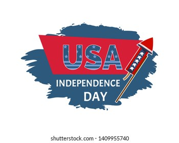 Usa independence day sticker with headline and petard celebration of national holiday brush title label raster illustration isolated on white